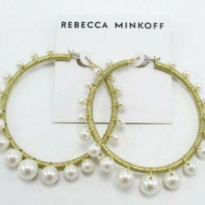 REBECCA MINKOFF MOROCCO PEARL HOOP EARRINGS
